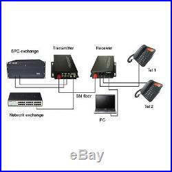 2 Channel Telephone Fiber Optic Media Converters PCM Voice With Ethernet SM 20Km