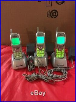 Lot of 3 Panasonic KX-TD7690 Cordless Phone 2.4 GHz With Charging & AC Adapter