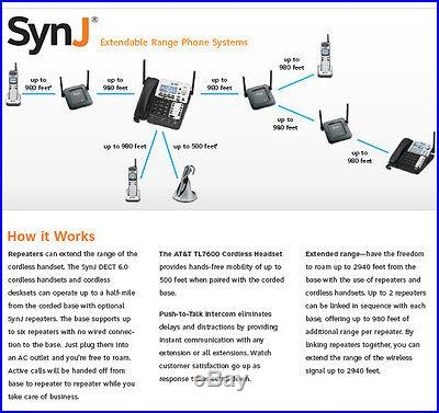 New AT&T SynJ Small Business Office 4-line 4 Phone System +Headset +Cordless